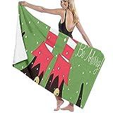 N/A Weihnachts-Elfe Clip Art Erwachsenen Mikrofaser-Strandtuch groß 78,7 x 137,1 cm schnell trocknend umweltfreundlich Mehrzweck-Stranddecke für Damen und Herren