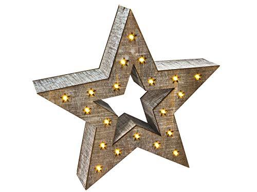 Deko Holz Stern 28 cm - 20 LED warmweiß - Fensterdeko Tischdeko Weihnachtsstern beleuchtet LED Stern