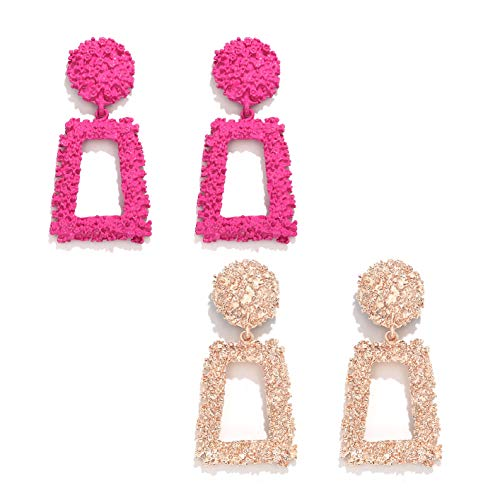 boderier Womens Rasied State T Earrings Vintage Chunky Metal Textured Geometric Square Drop Door Knocker Earrings Set (Rose Gold and Hot Pink)