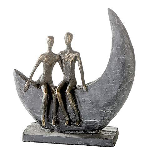Casablanca - Skulptur Moon Poly bronzefarbene Figur Basis dunkelgrau mit Zertifikat und Spruchanhänger