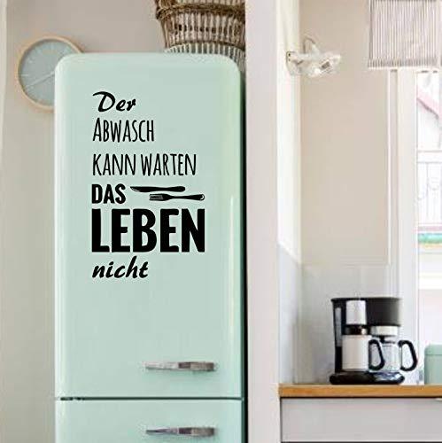 myrockshirt Spruch Der Abwasch kann warten… ca 40x50cm mit Messer & Gabel Aufkleber Kühlschrank Sticker Lustig Profi-Qualität ohne Hintergrund Deko