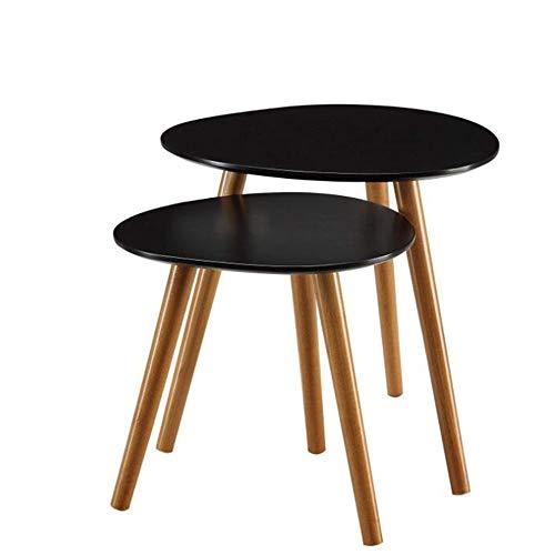 YNN Table Tables gigognes Ensemble de 2 Table Basse Ronde Table d'appoint Table de Nuit Table de Chevet pour Salon Maison et Bureau 3 Couleurs (Couleur : Noir)