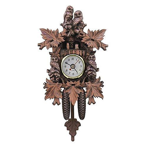 Sygjal Pájaro Retro Diseño Decorativo Reloj de Pared de la Sala de Estar del Reloj de Cuco de la Vendimia del péndulo Colgantes de Madera Reloj de Pared (Color : 4, Size : Gratis)