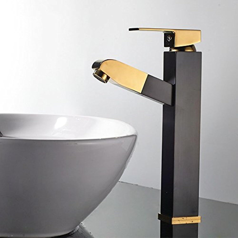Bijjaladeva Wasserhahn Bad Wasserfall Mischbatterie Waschbecken Waschtisch Armatur für BadezimmerDie Bder Sind Stilvoll in Schwarz und Gold-Kupfer Platz Ziehen Waschtischmischer