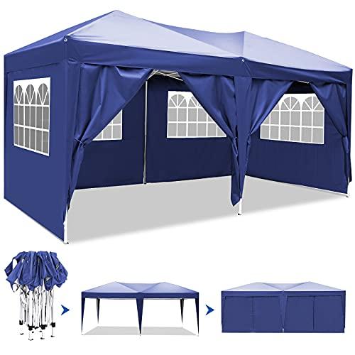 Pavillon 3mx6m, Wasserdicht Faltbare Pavillon Zelt Faltpavillon Festzelt mit 4 Seitenteilen für Garten/Party/Hochzeit/Picknick/Markt (Blau 1)