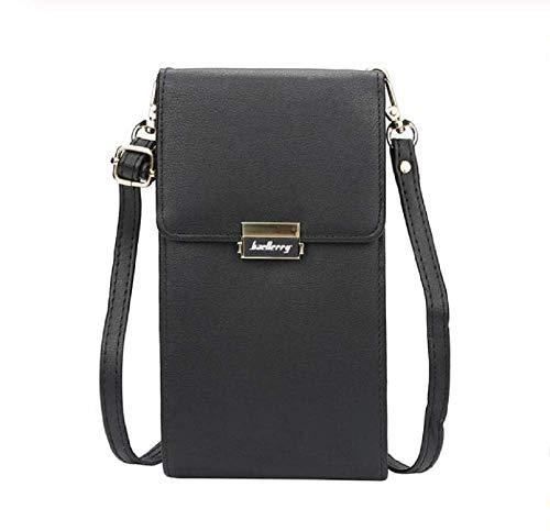 Baellerry Kleine Reisetasche aus veganem Leder mit Kreditkartenfächern und Reißverschlusstasche für Damen (schwarz)