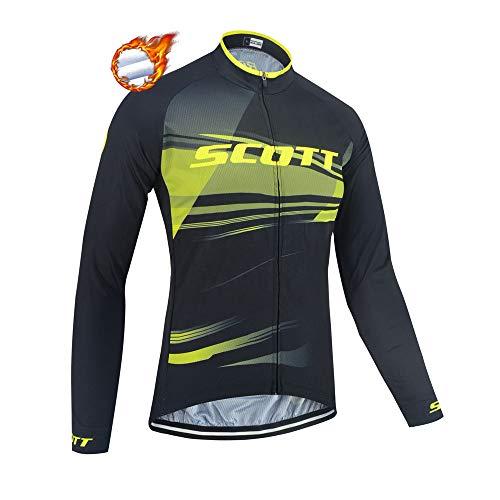 CHHBS Maglia da Ciclismo Invernale in Pile Termico da Uomo, Abbigliamento da Ciclismo a Manica Lunga da Uomo MTB