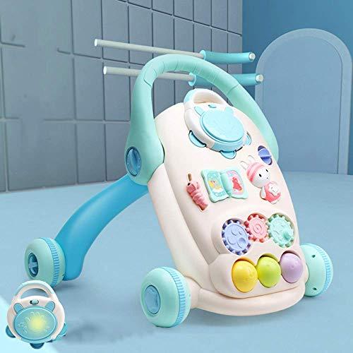 LEILEI Baby Walker,Faltbarer Kinderwagen-Lernwagen für Walk-Behind MusicToys mit Activity Tray Walker (Multicolor),Blau