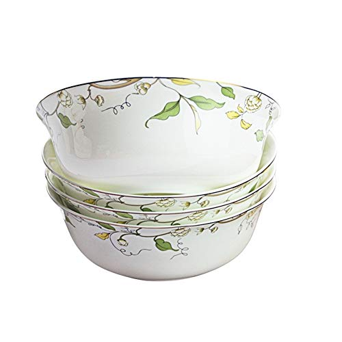 HECIHSG Household Bowl Four Mounted Chinese Porcelain Bowl Bowl Bone China Bowl 6 inches Rich Ceramic Bowl declamatory Bowl Large Bowl of Instant Noodles HECIHSG (Color : Champs Elysees)