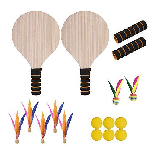 LEtion Beach Paddle Ball Spiel Cricket Badminton Schläger Paddel Set Indoor Outdoor Racquet aus Holz für Erwachsene und Kinder