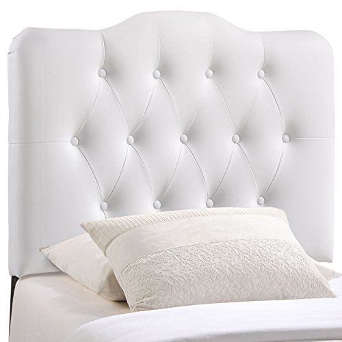 Modway Annabel Upholstered Tufted Button Vinyl Headboard Twin Size In White