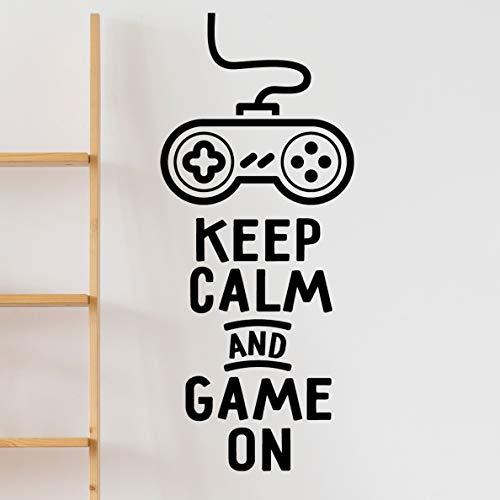 """Vinilo adhesivo para pared, diseño con texto en inglés """"Keep Calm and Game on Joystick"""""""