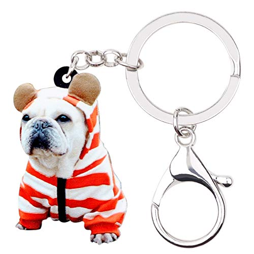 NEWEI Acrylic French Bulldog Puppy Dog Key Chains Animal Rings Purse Car Gift For Women Girls Ladies Charms Pets