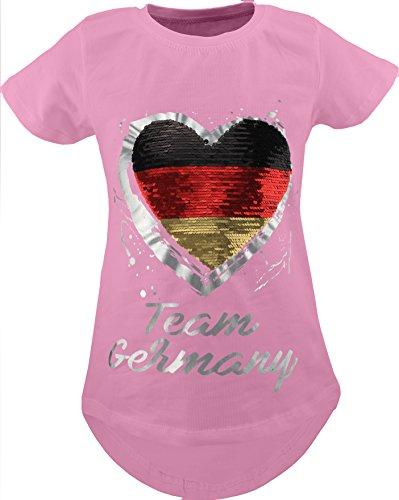 Deutschland Fan Kinder Mädchen Wende Pailletten Lang T-Shirt Bluse Kurzarm Tunika (146-152, Rosa)