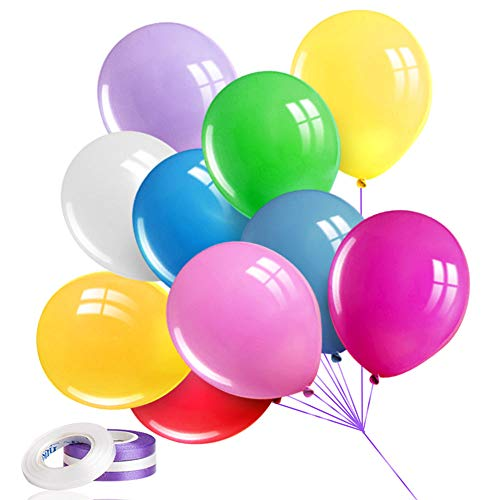100PCS Premium Balloons for Birthday Parties, Latex Party Rainbow Balloons, 10 Assorted Colors 12 Inches Bulk Balloons, Helium Colored Balloons for Party Supplies and Arch Decorations