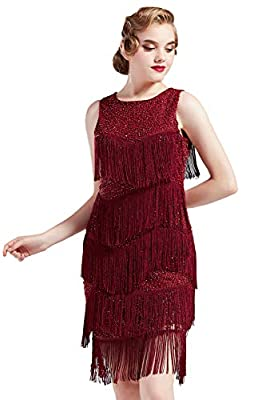 BABEYOND 1920s Flapper Dress Gatsby Fringed Dress Roaring 20s Beaded Dress Art Deco Dress for Gatsby Themed Party Prom