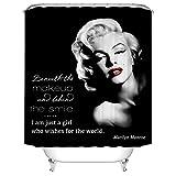 Duschvorhang 180X180 Schwarze Marilyn Monroe Duschvorhang Anti-Schimmel & Wasserabweisend Shower Curtain, Duschvorhänge mit 12 Haken,Duschvorhang Textil Waschbar,Polyester