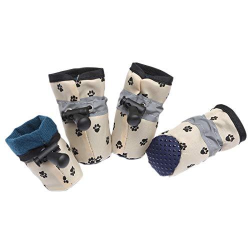 LHSJYG Dog Shoes,Zapatos para Perros 4 PCS Zapatos de Perro a Prueba de Agua para Perros pequeños Botas de Lluvia Reflectantes Ajustables Puppy Pet Cor Socks PETRYS Productos DE Pet