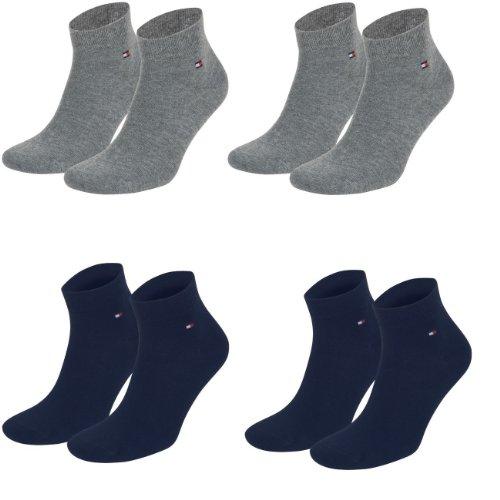 Tommy Hilfiger unisex Quarter Socken Farbkombinationen 4er Pack- Gr. 43-46, 2x Grau 2x Navy