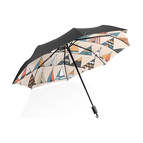 Männer Totes Regenschirm Tipi Muster Wigwam Indianer Sommer Tragbare Kompakte Taschenschirm Anti Uv Schutz Winddicht Outdoor Reise Frauen Kunst Regenschirme Für Frauen