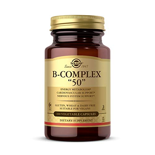 """Solgar B-Complex """"50"""", 100 Vegetable Capsules - Energy Metabolism, Cardiovascular Support, Nervous System Support - Non-GMO, Vegan, Gluten Free, Dairy Free, Kosher, Halal - 100 Servings"""