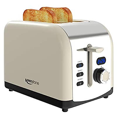 Toaster 2-Slice, Retro LED Timer Display Stainless Steel Toasters, Extra Wide Slots with Reheat, Cancel, Defrost Function, Cream