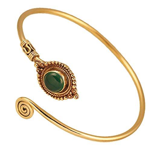Chic-Net Messing Armreif antik golden Grüner Onyx Maserung rund Kugeln verstellbar antik Tribal Schmuck