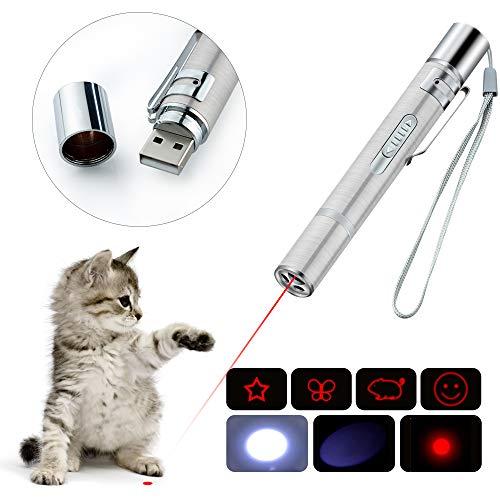 BiuCat C4 USB Pointeur de LED, 7 en 1 Une Fonction, Mini Lampe de Poche + Lumière Rouge + Lumière UV + Modèle, Interactif Lumière de Commande, Outil de Formation pour Chat Chien Chaser