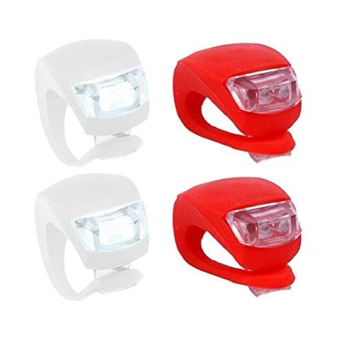 Fresco 4pcs bici de la bicicleta de silicona frente Cabeza posterior rueda seguridad de luz de lámpara Conjunto impermeable brillante accesorios de bicicletas (2 blancos y 2 rojos)