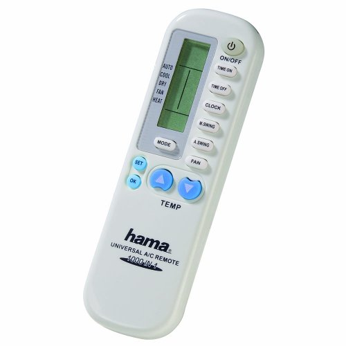 Hama Universal-Fernbedienung für Klimaanlagen, 1000in1 (IR Klimagerät Fernsteuerung, universell einsetzbar, Reichweite 5m) weiß