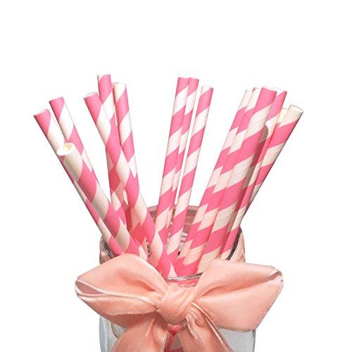 Bofa, cannucce a strisce rosa, 19,7cm, (100pezzi)