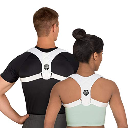 Swiss Safe Posture Corrector for Men/Women - Stylish & Discreet Ergonomic Back Straightener Brace for Proper Posture & Spinal Pain Relief (White, Small/Medium)