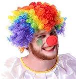 Adatto a tutte le feste in maschera, costumi in costume, carnevali e spettacoli teatrali Fatto da fibre acriliche Inclusa 1 parrucca da clown e 1 naso da clown Si adatta meglio a bambini, adolescenti e adulti Berretto in mesh traspirante per evitare ...