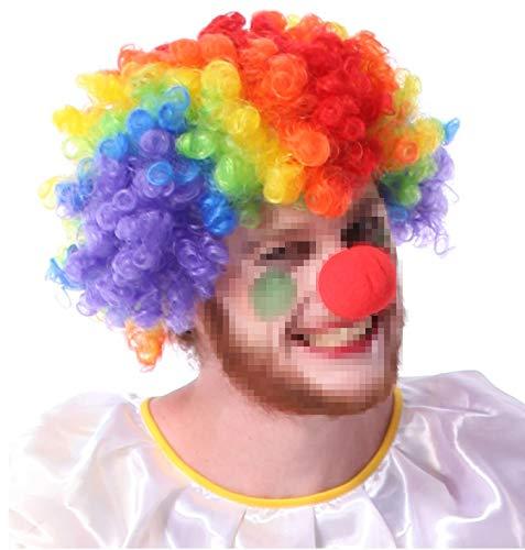 Baanuse Colorata Pagliaccio Parrucca e Naso Clown, per Bambini Adulti Halloween Cosplay Costume Festa