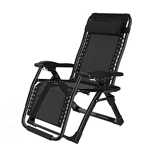 CZX Sillas reclinables Sillones reclinables de Malla de Acero con/Almohadas y bandejas portavasos, Lado de la Piscina, Patio Exterior, Playa, Plegable Ajustable