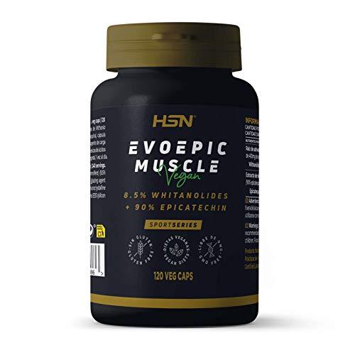 Evoepic Muscle de HSN | Suplemento para Ganar Masa Muscular | Suministro para 4 Meses | Ashwaganda + Epicatequina | Inhibidor de Miostatina | Vegano, Sin Gluten, Sin Lactosa, 120 Cápsulas Vegetales