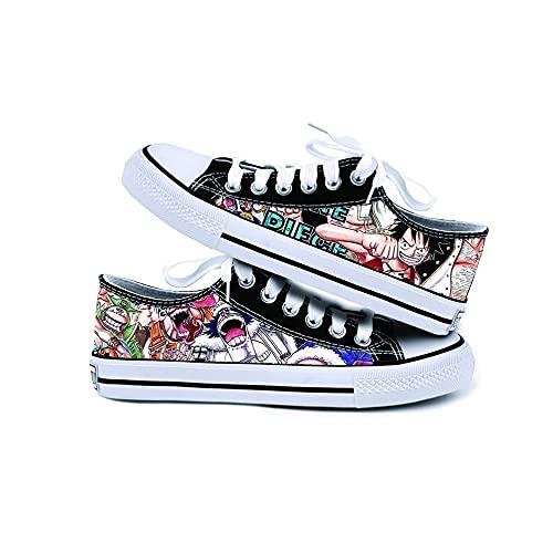 JPTYJ One Piece Monkey·D·Luffy/Portgas·D· Ace Zapatos de Lona Unisex Zapatos Casuales para Estudiantes de Anime Zapatillas con Cordones B-36
