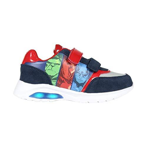 Avengers Zapatillas Deportivas para Niños, Zapatos con Luces, Deportivas Ligeras, Cierre de Velcro Fácil, Regalo para Niños, Talla EU 26