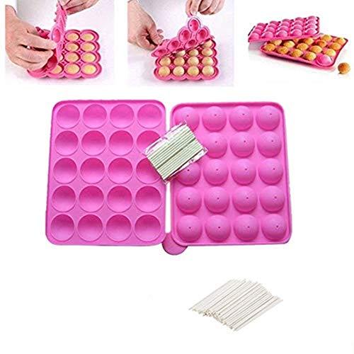 Stampo per Pop Cake in Silicone Senza BPA, stampi in Silicone per Lecca-Lecca, vassoi per cubetti di Ghiaccio per Torta Muffin 120 Sticks Gumdrop Jelly Moulds- Rosa