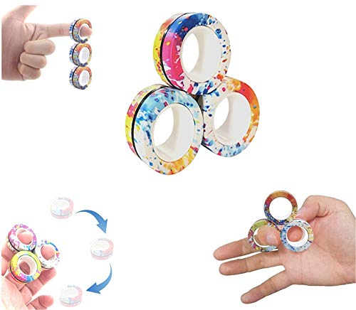 AHEYE 3 Pcs Finger Magnetic Ring - Anxiety and Stress Relief Toy,Finger Toy ,Magnetic Ring,Durable Unzip Toys Finger Exerciser,for Anxiety,Fidget Rings,Autism,ADHD,Ring Toys (Watermark Mix)