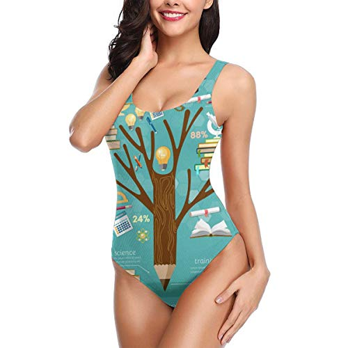Women One Piece Swimsuit Education Tree of Knowledge Swimsuits Backless Thong Bathing Suits