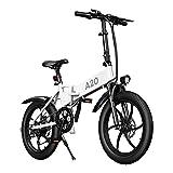 ADO Bicicleta eléctrica plegable A20F para hombre y mujer, 20 x 4,0 pulgadas, 500 W, bicicleta eléctrica para ciudad con batería extraíble de 36 V 10,4 Ah, 25-40 km/h, color blanco, 20 x 4,0 pulgadas