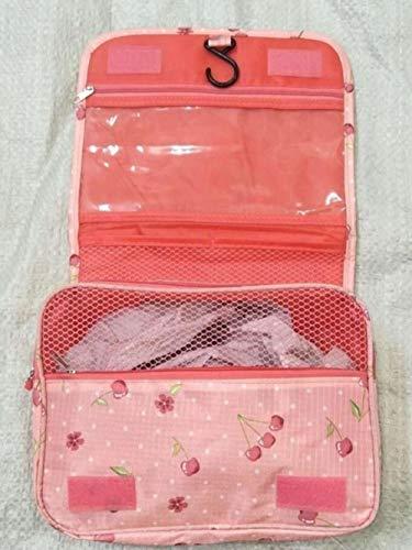 Linwei Waterproof Portable Polyester Travel Cosmetic Bag Neceser Hanging Wash Bag Neutral Make Up Bag Organizer,Pink Cherry