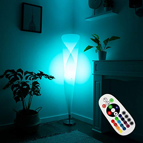 Decken Fluter Steh Lampe Fernbedienung Wohn Zimmer Leuchte dimmbar im Set inkl. RGB LED Leuchtmittel