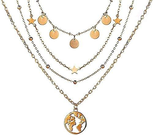 WYDSFWL Collares de Moda con Collares con Colgante de Mariposa para Mujer, Gargantilla de Luna con Encanto, Collar Multicapa, joyería Bohemia