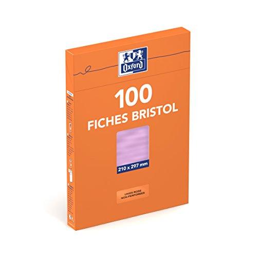 Oxford Fiches bristol A4 100 feuilles Rose