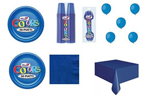Big Party Coordinato Monocolore Blu per Feste E Eventi - Kit n°21 CDC - (50 Piatti, 100 Bicchieri, 50 TOVAGLIOLI,1 TOVAGLIA, 40 FORCHETTE, 100 Palloncini)