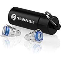 Tapones protectors de oído Senner MusicPro con caja de aluminio. 2 tamaños proporcionados. Para un uso prolongado y repetitivo. Ideal para conciertos, discotecas y festivals, claros/transparentes