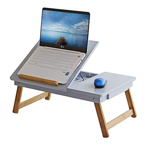 ZWJLIZI Klapptisch, Bett, Schreibtisch, Computertisch, multifunktional, tragbarer Bambus-Schreibtisch, kippbarer Schreibtisch (59 x 34 x 23 cm) a