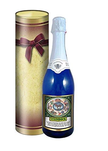 Sternzeichen Steinbock 0,75l Sekt (Mosel) blaue Flasche in der Geschenkdose im Schleifendesign
